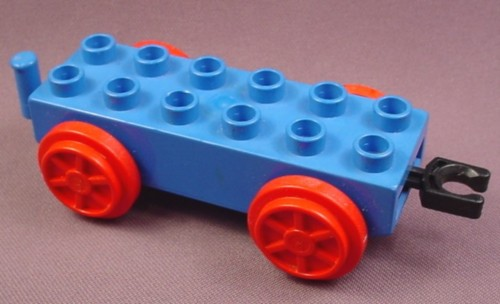 Lego Duplo 4559 Blue 2X6 Train Car Base With Red Wheels & Swiveling Couplers