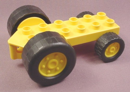 Lego Duplo 40635 Yellow 2X6 Vehicle Tractor Base With 2 Large & 2 Small Black Wheels