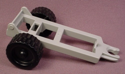 Lego Duplo 4820 Old Gray 2X6 Vehicle Trailer Frame With Black Wheels, 2696 2699