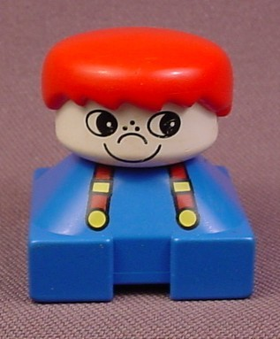 Lego Duplo 2327 Short Bust Figure With Suspenders, White Freckle Nose, Red Male Hair