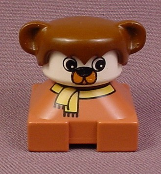 Lego Duplo 2327 Short Bust Brown Bear Figure With Yellow Scarf & Brown Ears