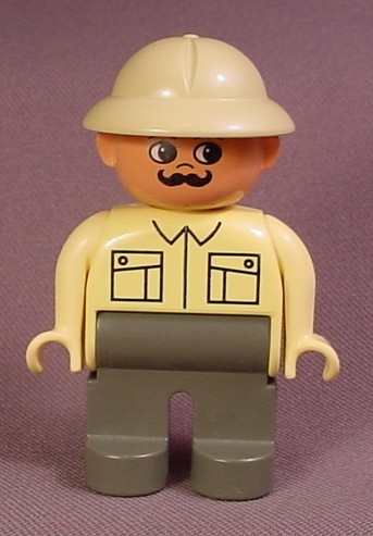 Lego Duplo 4555 Male Articulated Figure, Tan Pith Helmet, Dark Gray Legs, Collar