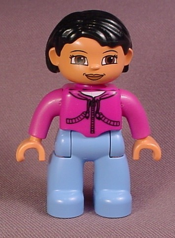 Lego Duplo 47394 Female Articulated Lego Ville Figure, Purple Shirt With Zippers
