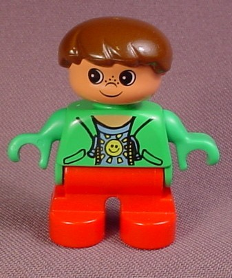 Lego Duplo 6543 Boy Child Articulated Figure Red Legs Green Jacket Smiling Sun Design