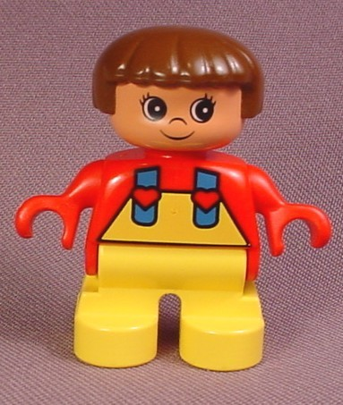 Lego Duplo 6543 Girl Child Articulated Figure, Yellow Legs & Overalls With Blue Straps