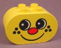 Lego Duplo 4198 Yellow 2X4X2 Brick With Rounded Ends & Freckle Face Pattern