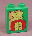 Lego Duplo 4066 Green 1X2X2 Brick With 2 Cheese Pattern, 2640 Grocery Store, Gouda