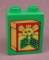 Lego Duplo 4066 Green 1X2X2 Brick With Box Of Raisins Sun Pattern 2640 Grocery Store