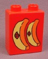 Lego Duplo 4066 Red 1X2X2 Brick With 2 Bananas Stickers Pattern 2640 Grocery Store