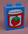 Lego Duplo 4066 Blue 1X2X2 Brick With Strawberry Jam Jar Pattern, 2640 Grocery Store