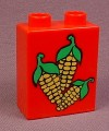 Lego Duplo 4066 Red 1X2X2 Brick With 3 Ears Of Corn Pattern, Type I, 1684 2697, Farm