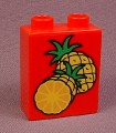 Lego Duplo 4066 Red 1X2X2 Brick With 2 Pineapples, 1 Sliced Pattern, 2600 2602 Dinosaurs