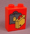 Lego Duplo 4066 Red 1X2X2 Brick With Yellow & Gray Suitcases Pattern, 1544 2346 2452