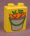 Lego Duplo 4066 Yellow 1X2X2 Brick With Pail Of Carrots Pattern, Farm, Pony Stable