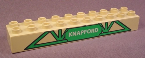 Lego Duplo 2291 Tan 2X10 Brick With Green Triangle Base & Knappford Sign Pattern, 5552