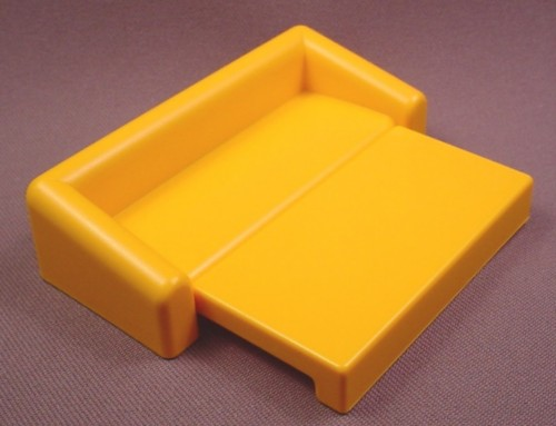 Playmobil Gold Or Light Orange Sofa Bed Couch, The Bottom Folds Out To Form The Bed