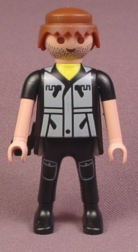 Playmobil Adult Male Adventurer Figure With A Stubble Beard And Black  Clothes With Zipper Pockets