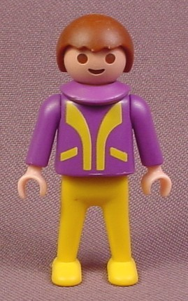Playmobil Male Boy Child Figure In A Purple Jacket With Yellow Trim, Yellow Legs, Brown Hair, 3688