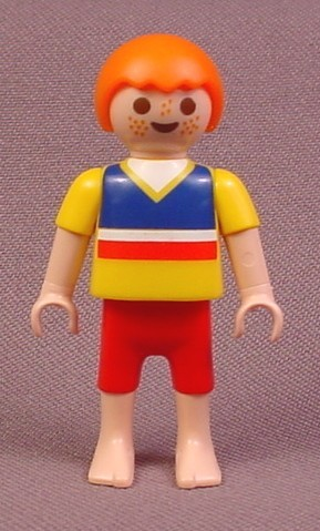 Playmobil Male Boy Child Figure In A Yellow Shirt With Blue Red & White Stripes, Red Shorts