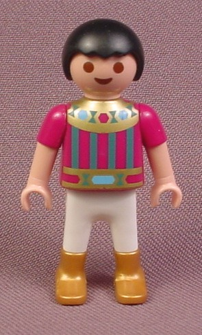 Playmobil Male Boy Child Prince Figure In A Purple Gold & Blue Outfit With Gold Shoes, Black Hair