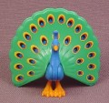 Playmobil Peacock Bird Animal Figure With The Tail Spread Out, 2 Inches Tall, 4137 4154 4852