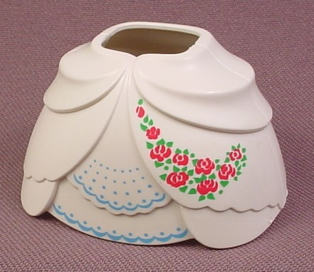 Playmobil White 2 Piece Hoop Skirt Dress With A Red Flower Design, Hole In Back For Bow