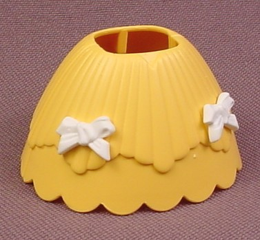 Playmobil Yellow 2 Piece Hoop Skirt Dress With 2 White Bows, The 2 Sections Snap Over A Child