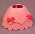 Playmobil Pink 2 Piece Hoop Skirt Dress With 2 Red Bows, The 2 Sections Snap Over A Child Figure