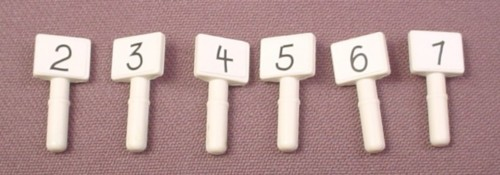 Playmobil Set Of 6 Small Rectangular White Signs On Short Posts With Numbers 2 To 7