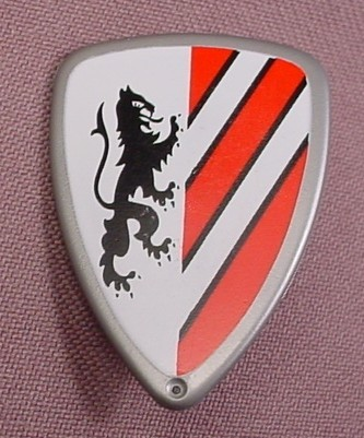 Playmobil Silver Triangular Shield With White & Red Stripes Design, 3125 7665