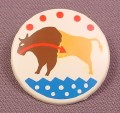 Playmobil White Round Native American Indian Shield With Buffalo Design, 3028 3250 3874 4130 4652