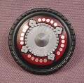 Playmobil Black Round Shield With A Silver Insert & Red Design, Hand Grip, 3125 4567 5818