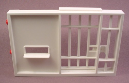 Playmobil White Wall With Sliding Prison Jail Cell Door, 3085 3605 3623