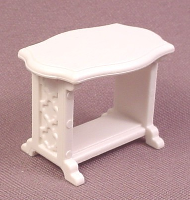 Playmobil White Small Table With Curved Edges & Ornate Design On The Legs, 3031 4249 4252 4254 9485