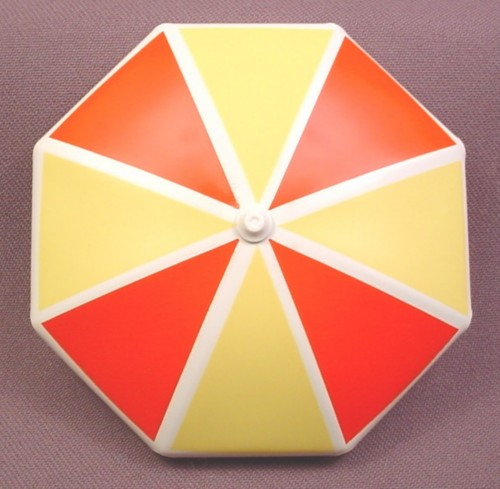 Playmobil White Patio Umbrella Top With Beige & Orange Triangles Design, 3 3/8 Inches Across, 3230