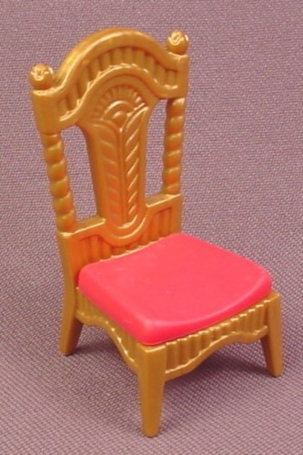 Playmobil Gold Chair With Ornate Tall Back & Dark Pink Seat 3021