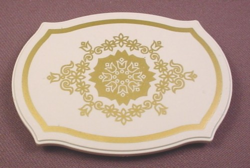 Playmobil White Table Top With Curved Sides & Ornate Gold Design