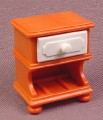 Playmobil Orange Brown Night Table With A White Drawer & Antique Front, 1 3/8 Inches Tall, 4145 5319