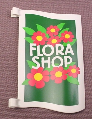 Playmobil Rectangular White Wavy Sign With 2 Pole Clips & Flora Shop Stickers On Both Sides