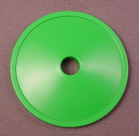 "Playmobil Green Round Base With Large Center Hole, 2 1/8"", 4257"