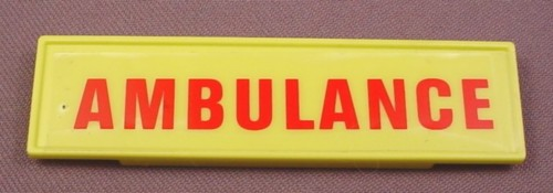 Playmobil Yellow Or Lime Green Sign With Red Ambulance Text 3130