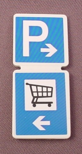 Playmobil White Double Sign With A Clip On The Back & Parking & Shopping Cart Stickers Applied