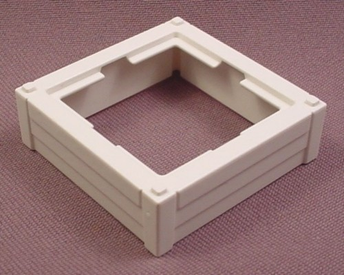 """Playmobil White Flower Box Frame With Wood Slats, 1 3/4"""" Square"""