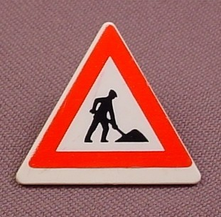 Playmobil White Triangular Sign With Clip On Back, Men Working