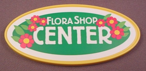 Playmobil Yellow Large Oval Flora Shop Center Sign With 4 System X Clips In The Back, 1 3/4 Inches