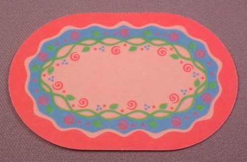 "Playmobil Dark Pink Oval Carpet Rug, Green & Blue Design, 3 1/2 "" long, 4253, 30 89 8572"