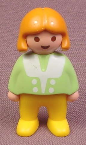 Playmobil 123 Girl Figure, Blonde Hair, Green Top with White Trim, Yellow Legs, 6728