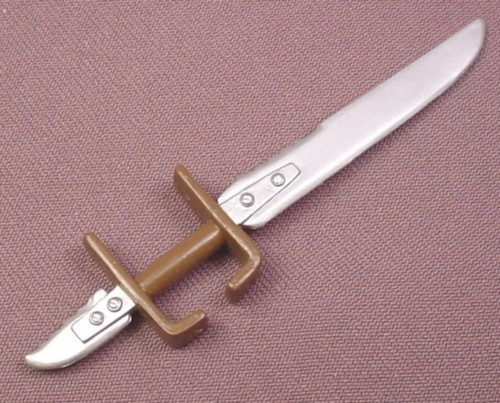 TMNT Double Pointed Sword Weapon Brown Hilt Accessory for Fightin Gear Leo Figure 2003