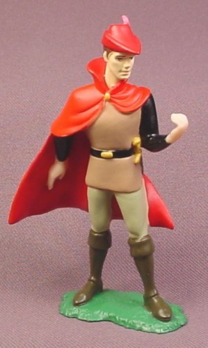 "Disney Sleeping Beauty Prince Phillip PVC Figure on Base, 3 5/8"" tall, Red Cape & Hat"