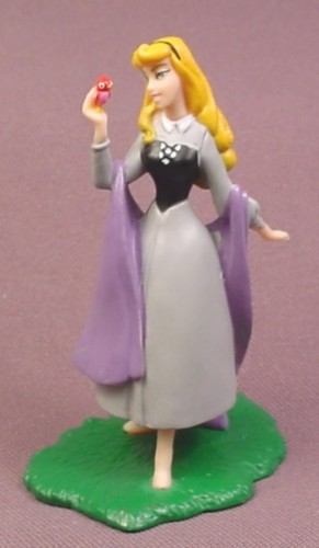 "Disney Sleeping Beauty with a Bird PVC Figure on Base, 3 3/8"" tall"